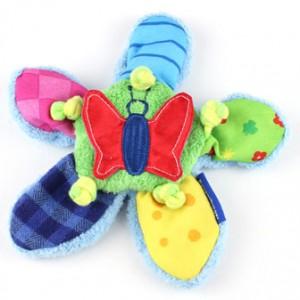 Ein Babyspielzeug für ganz junge Babys, das Knisterblümchen